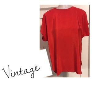 Vintage, size 12 boho red short sleeve top
